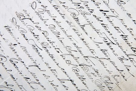 A close-up of an old handwritten letter