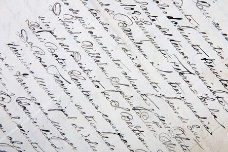 A close-up of an old handwritten letter