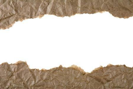 separato: Due strisce di carta strappato marrone