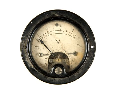 Close-up of an ancient voltmeter, isolated on white