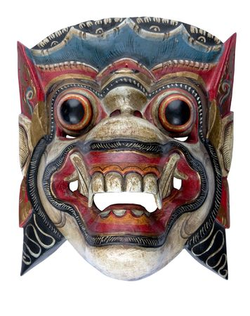 A Balinese Barong mask isolated on white