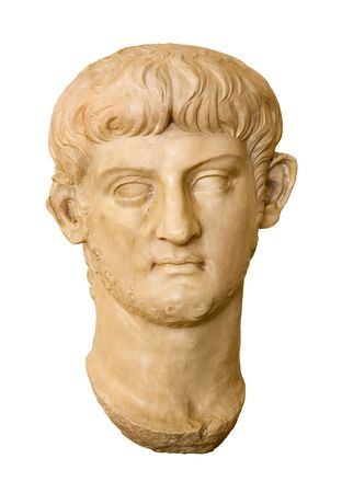 Marble head of Nero Claudius Caesar Augustus Germanicus ( AD 37 - 68 ). Roman Emperor from 54 to 68.