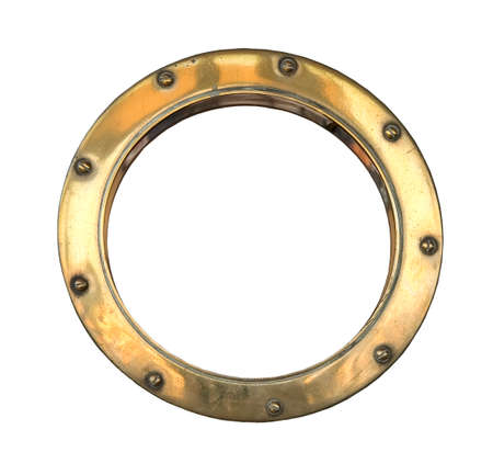 A brass ships porthole isolated on white