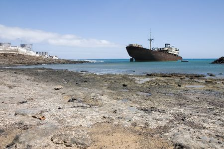 Temple Hall wreck in Costa Teguise, Lanzarote, Canary Islands, Spain Stock Photo - 1771188