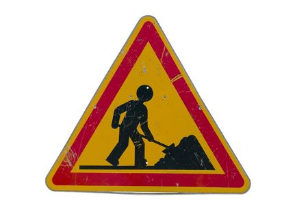 road works: Road works traffic sign; isolated on white