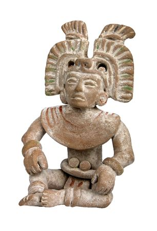 A mayan terracotta figurine isolated on white