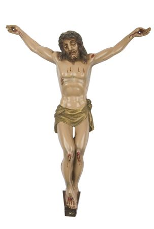 tortured body: Old figurine of Jesus crucified, isolated on white Stock Photo
