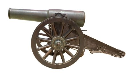 gunnery: Ancient Spanish howitzer cannon ( Ob�s de bronce de 21cm Plasencia Md. 188591 ) isolated on white