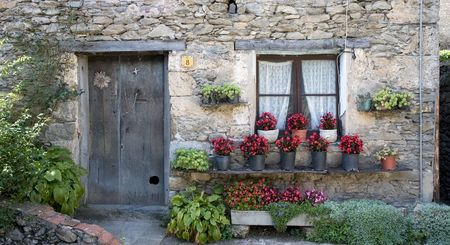 mediterranean houses: Typical house in Beget, La Garrotxa, Catalonia, Spain