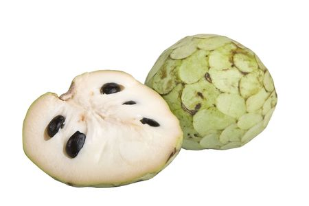 Cherimoya fruit or custard apple (Annona cherimola), isolated on white