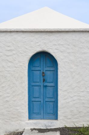 Blue door in a house in El Golfo, Lanzarote, Canary Islands, Spain Stock Photo - 2689132