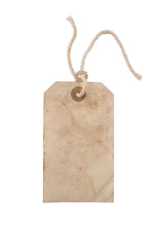 atados: Blanco de edad colgar la etiqueta de papel con una cadena Foto de archivo
