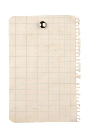 looseleaf: Aged sheet of paper pinned with a thumbtack