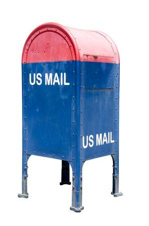 buzon de correos: buz�n azul y rojo aislado en blanco