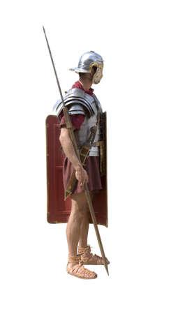 cascos romanos: Un soldado de legionario romano aislado en blanco