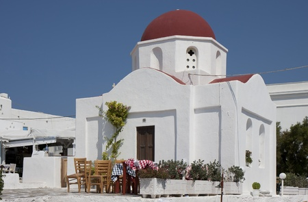 Orthodox church of Agia Moni in Chora, Mykonos, Greece photo