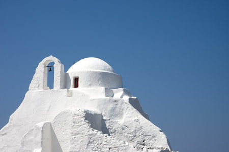 church bells: Panagia Paraportiani church, Chora, Mykonos island, Greece