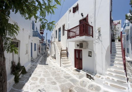 Street in Chora, Mykonos island, Cyclades, Greece