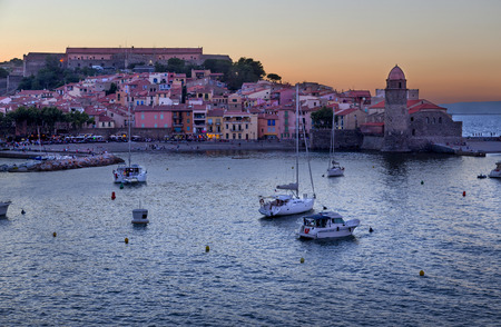 vermilion coast: Sunset in the town of Collioure in the Vermilion coast, France