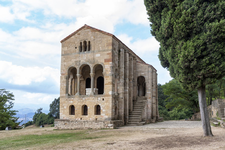 patrimony: Santa Maria del Naranco  King Ramiro I ordered its construction in 848 and used it as a royal palace Stock Photo