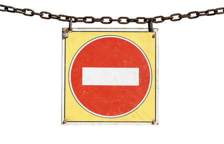 no entry sign: No entry traffic sign hanging from a chain