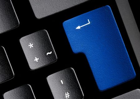 edv: Black keyboard with a blue key. Use it for technical concepts.