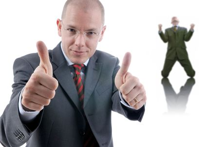 sucess: Sucess in the office. Two businessmen. Studio shooting. Stock Photo