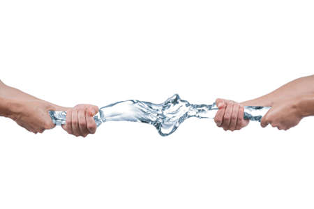 Tug of war with water. Picture was made in studio