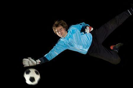 goalkeeper: Goalkeeper defends ball