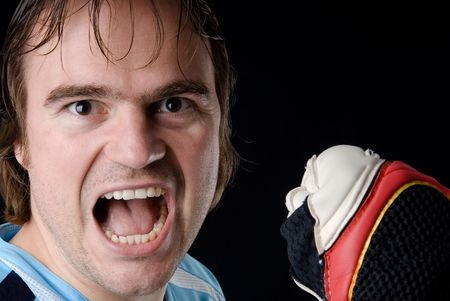 tricot: Goalkeeper after holding a ball. Studio picture Stock Photo