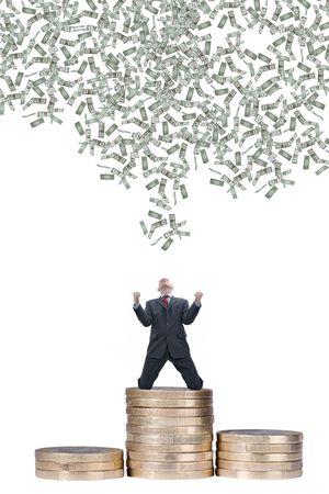 dinero euros: Joven empresario con la ca�da de d�lares
