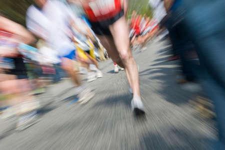 Marathon racer. Blur from the original shot Stock Photo