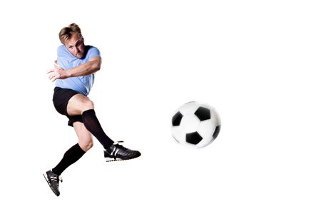 tricot: Soccer player in action. Full isolated studio picture