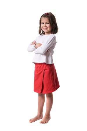 shoeless: Young and pretty girl. Full isolated studio picture