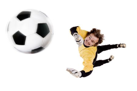 tricot: Young goalkeeper in action. Full isolated studio picture
