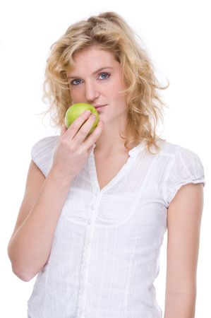 Full isolated portrait of a beautiful caucasian woman with an apple photo