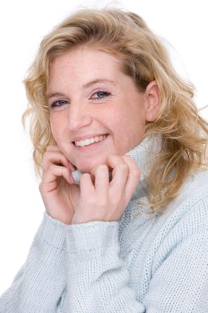 Full isolated portrait of a beautiful  caucasian smiling woman in a turtleneck photo