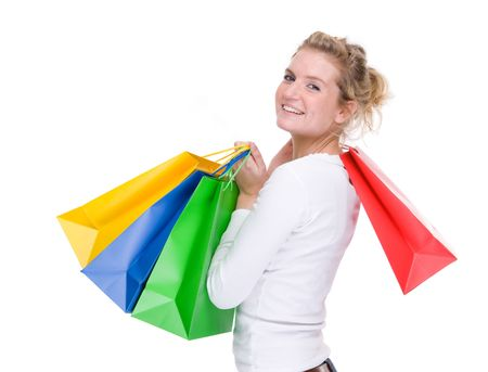 gift spending: Full isolated portrait of a beautiful  caucasian woman with some shopping bags Stock Photo