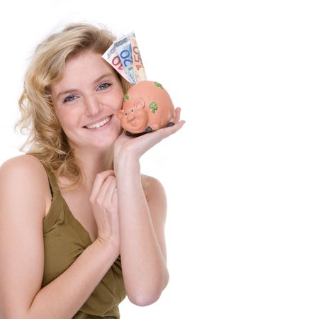 economize: Full isolated portrait of a beautiful  caucasian woman with a piggybank