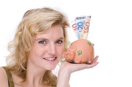 Full isolated portrait of a beautiful  caucasian woman with a piggybank Stock Photo - 4172236