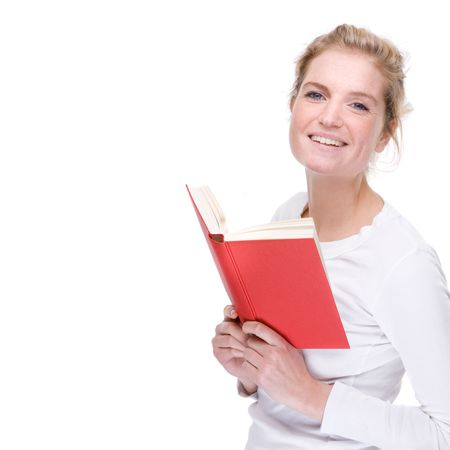 Full isolated portrait of a beautiful  caucasian woman with a red book photo