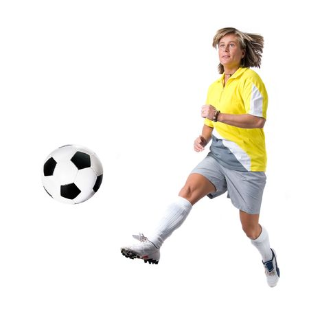 victor: Full isolated picture of a  caucasian woman playing soccer