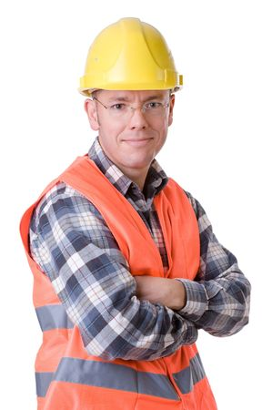 lumberman: Full isolated studio picture from a young construction worker