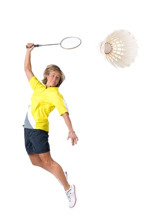 badminton: Full isolated picture of a  caucasian woman playing badminton