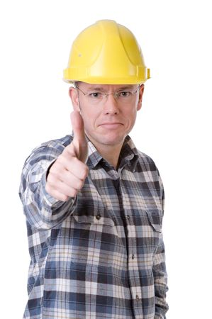 work workman: Full isolated studio picture from a young construction worker with thumbs up Stock Photo