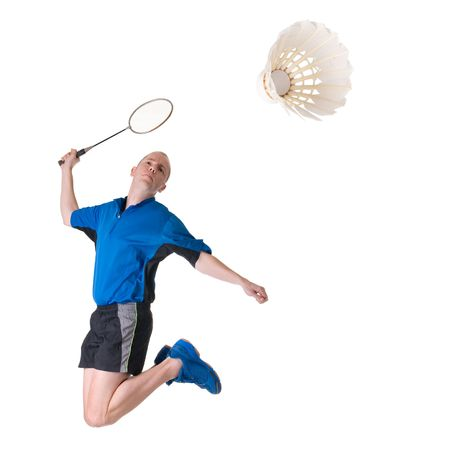 shuttlecock: Full isolated picture of a caucasian man playing badminton