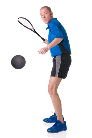 Full isolated picture of a caucasian man playing squash Stock Photo