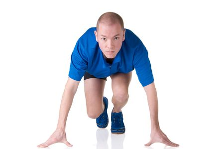 Full isolated picture of a caucasian man in the starting block photo