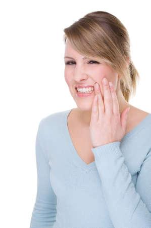 dent douleur: Full isol�s caucasian portrait d'une femme avec dents