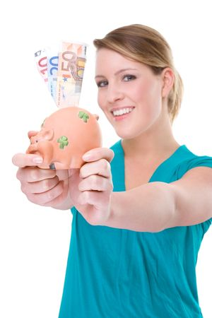Full isolated portrait of a beautiful caucasian woman with a piggybank Stock Photo - 4760254